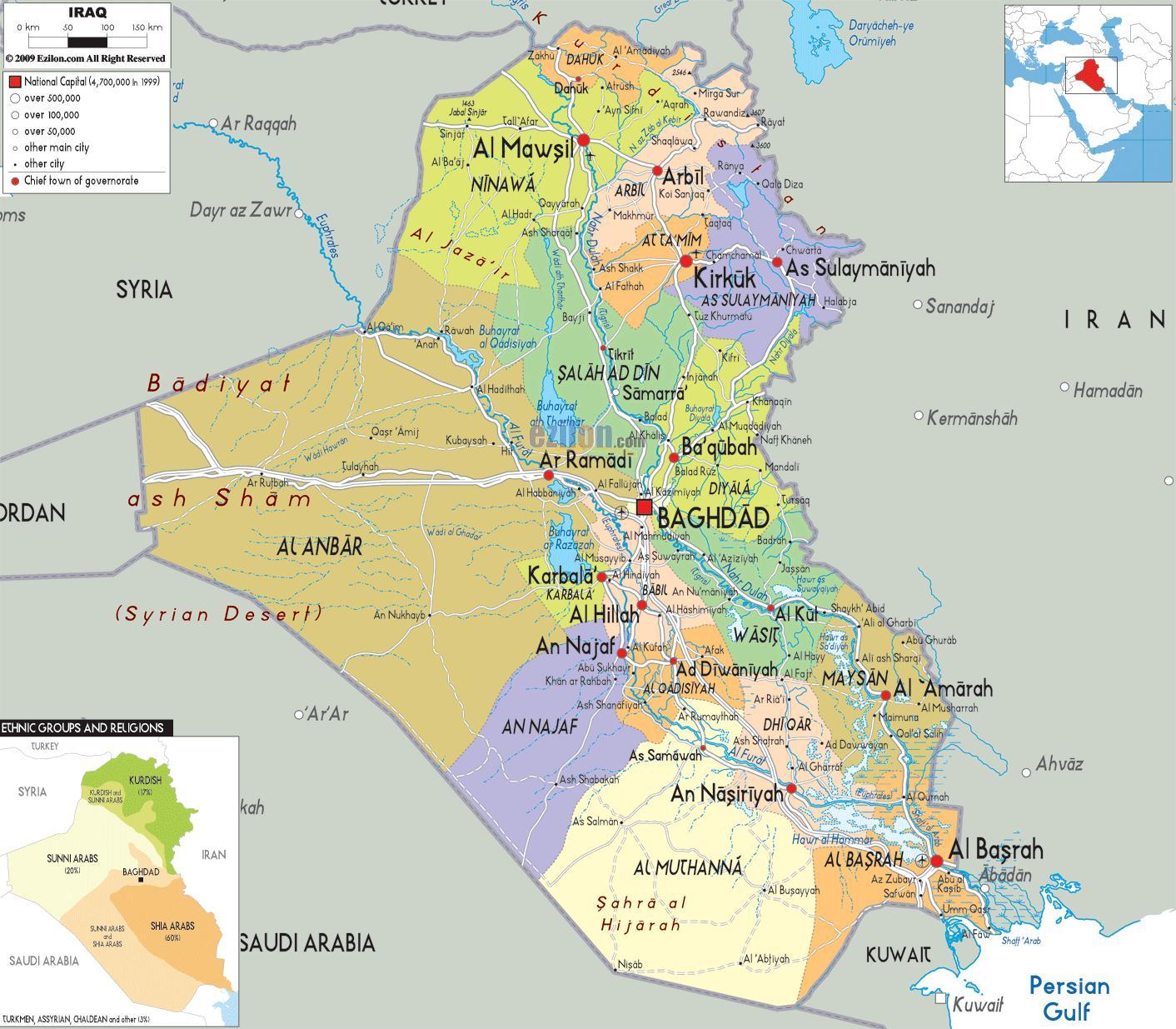 Irak Karta Irak Stader Karta Vastra Asien Asien